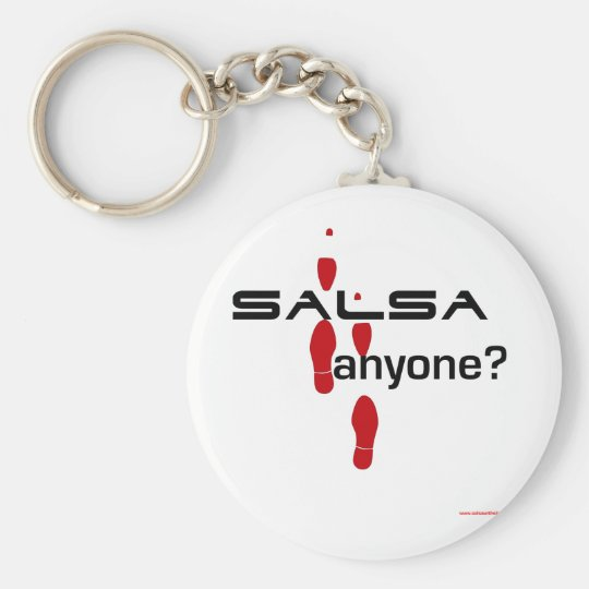 Salsa Anyone? Basic Round Button Key Ring