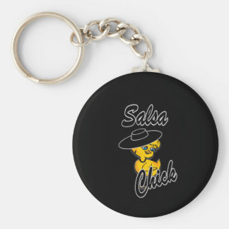 Salsa Chick #4 Basic Round Button Key Ring