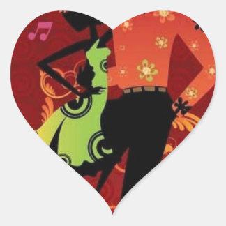 Salsa dance heart sticker