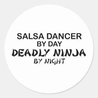 Salsa Dancer Deadly Ninja by Night Round Sticker