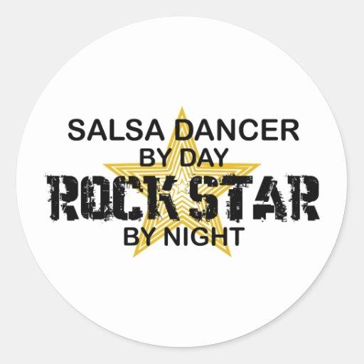 Salsa Dancer Rock Star by Night Round Sticker