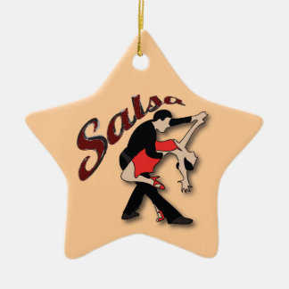 Salsa Dancers Double-Sided Star Ceramic Christmas Ornament