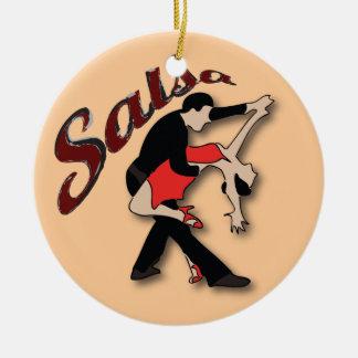 Salsa Dancers Round Ceramic Decoration