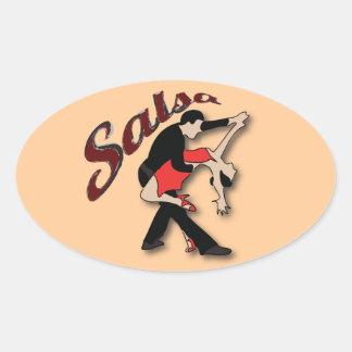 Salsa Dancers Oval Sticker