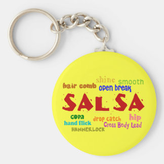 Salsa Dancing Lovers Dance Moves and Terms Basic Round Button Key Ring