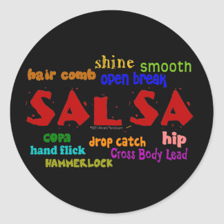 Salsa Dancing Lovers Dance Moves and Terms Round Stickers