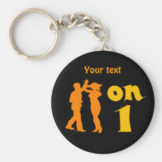 Salsa Dancing On One Silhouettes Customizable Basic Round Button Key Ring