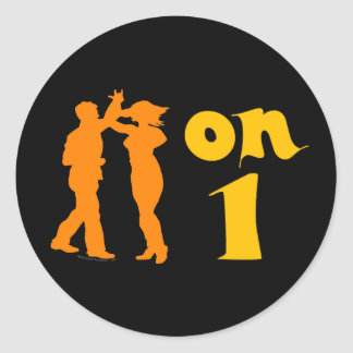 Salsa Dancing On One Silhouettes Customizable Round Sticker