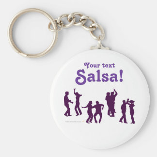 Salsa Dancing Poses Silhouettes Custom Basic Round Button Key Ring