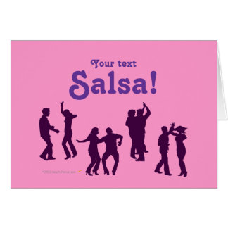 Salsa Dancing Poses Silhouettes Custom Card