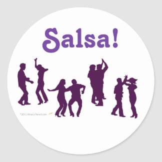 Salsa Dancing Poses Silhouettes Custom Classic Round Sticker