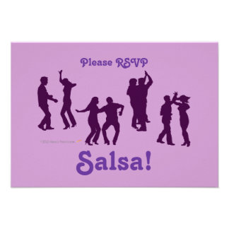Salsa Dancing Poses Silhouettes Custom Personalized Announcement