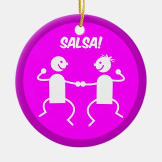 Salsa dancing round ceramic decoration