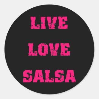 Salsa dancing round sticker