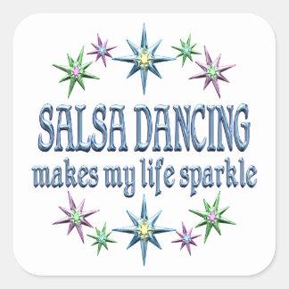 Salsa Dancing Sparkles Square Stickers