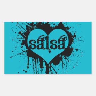 SALSA HEART DESIGN FOR ANY SALSERA OR SALSERO RECTANGULAR STICKER