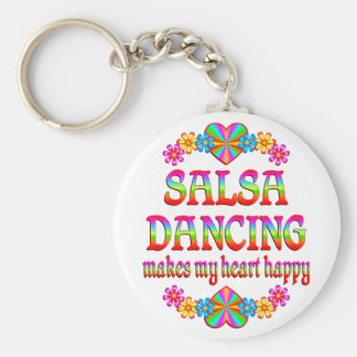 Salsa Heart Happy Basic Round Button Key Ring