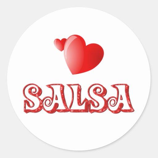 Salsa Hearts Round Sticker