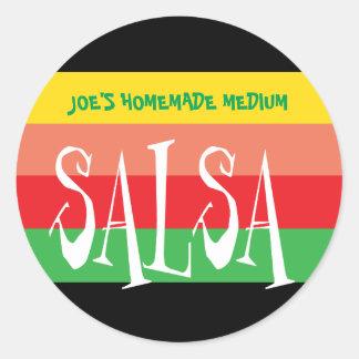 Salsa jar with fun colorful stripes classic round sticker