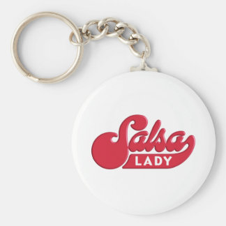 Salsa-Lady Basic Round Button Key Ring