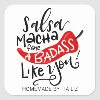 Salsa Macha hand lettered food label Square Sticker
