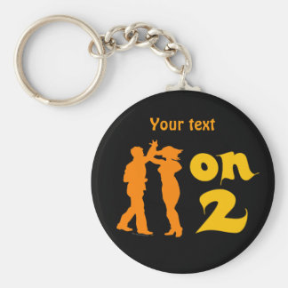 Salsa On Two Dancing Silhouettes Customizable Basic Round Button Key Ring