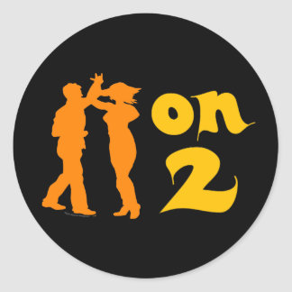 Salsa On Two Dancing Silhouettes Customizable Classic Round Sticker