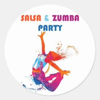Salsa Party Round Sticker