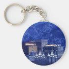 Salt Lake City Downtown Winter Skyline Key Ring
