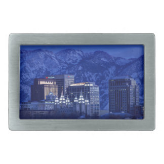 Salt Lake City Downtown Winter Skyline Rectangular Belt Buckles