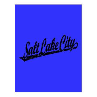 Salt Lake City script logo in black distressed Postcard
