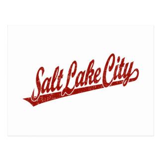 Salt Lake City script logo in red distressed Postcard