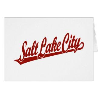 Salt Lake City script logo in red Greeting Card