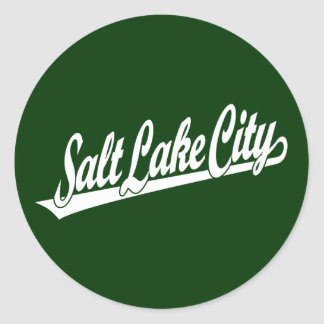 Salt Lake City script logo in white Classic Round Sticker