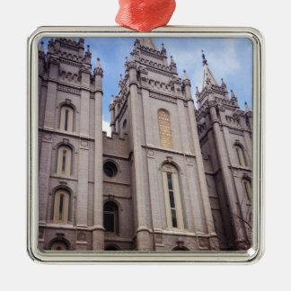 Salt Lake City Temple Silver-Colored Square Decoration