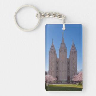 Salt Lake City Temple keychain. Single-Sided Rectangular Acrylic Key Ring