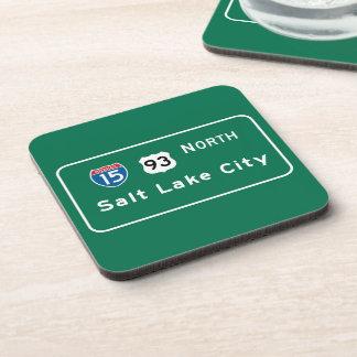 Salt Lake City UT Road Sign Drink Coaster