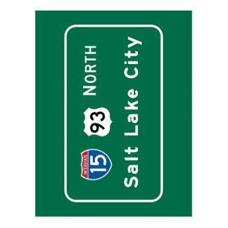Salt Lake City, UT Road Sign Postcard