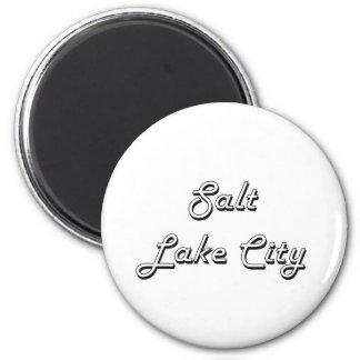 Salt Lake City Utah Classic Retro Design 6 Cm Round Magnet