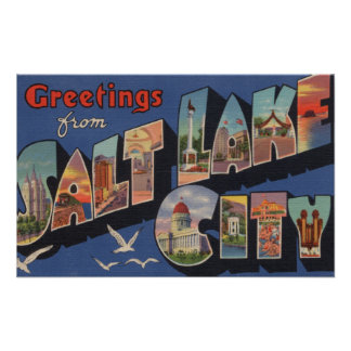 Salt Lake City, Utah - Large Letter Scenes 2 Posters