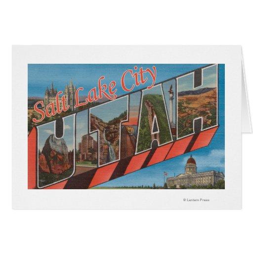 Salt Lake City, Utah - Large Letter Scenes Greeting Cards