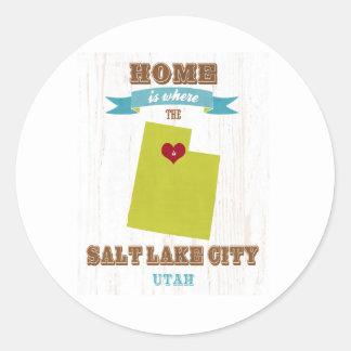 Salt Lake City, Utah Map – Home Is Where Round Sticker