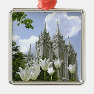 Salt Lake City, Utah, Mormon Temple Square Metal Christmas Ornament