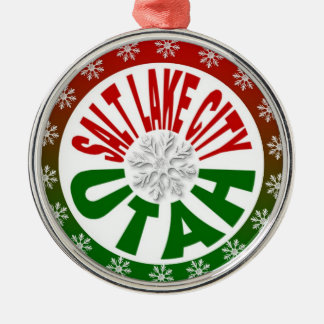 Salt Lake City Utah red green snowflake ornament