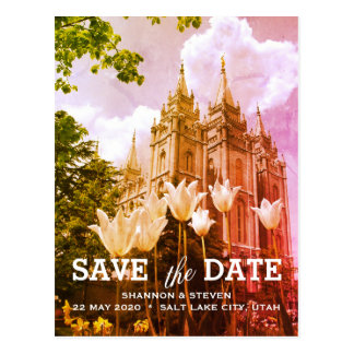 Salt Lake City, Utah Temple Wedding Save the Date Postcard