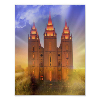 Salt Lake temple with sunbeams poster
