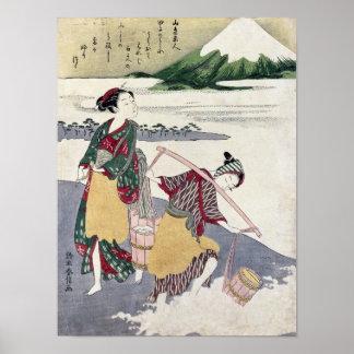 Salt Maidens on the Tago-no-ura Beach Poster