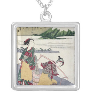 Salt Maidens on the Tago-no-ura Beach Silver Plated Necklace