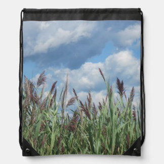 Salt Water Marsh and Blue Sky Drawstring Bag
