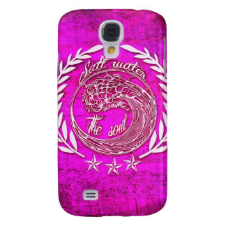 Salt water soothes the soul waves art in pink galaxy s4 case